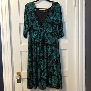 Igigi Black & Teal Green Paisley Dress- 14/16